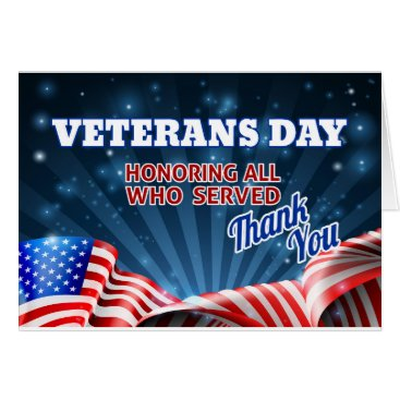 Veterans Day American Flag Background Card