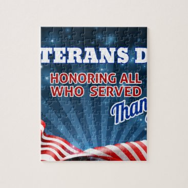 Veterans Day American Flag Background Jigsaw Puzzle