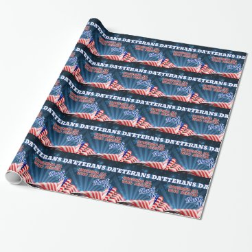 Veterans Day American Flag Background Wrapping Paper
