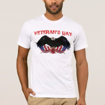 Veteran's Day Bald Eagle with Flags crossed T-Shirt