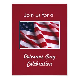 Veterans Day Celebration, Flag on Red Card