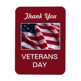 Veterans Day Celebration, Flag on Red Flexible Magnets