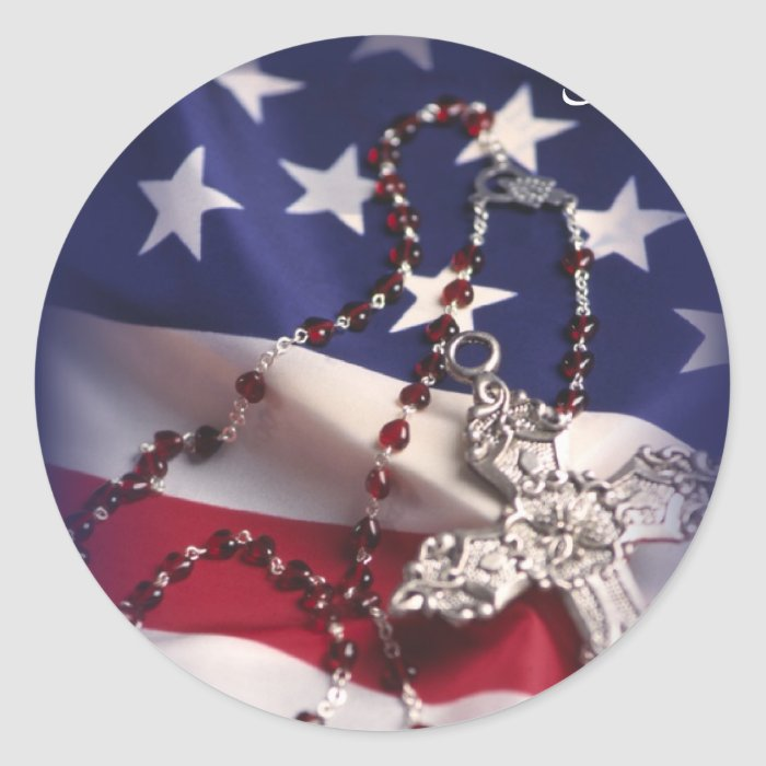 Veteran's Day Cross and Flag Classic Round Sticker