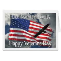 Veterans Day eagle and flag thank you card