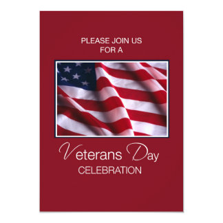 Veterans Day Event Invitation, Flag on Red, Wh Card