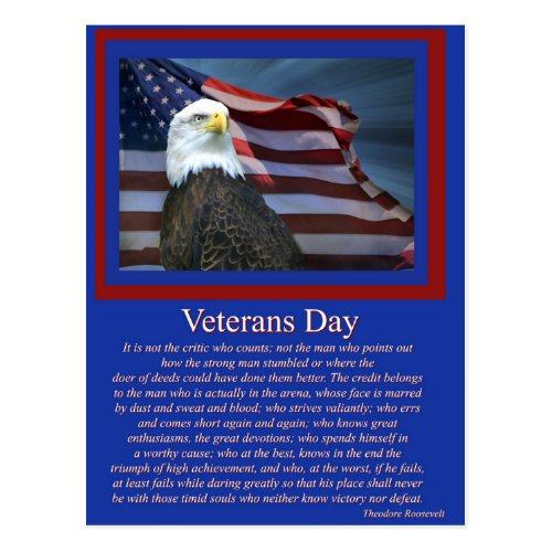 Veterans Day Famous Quote Postcard