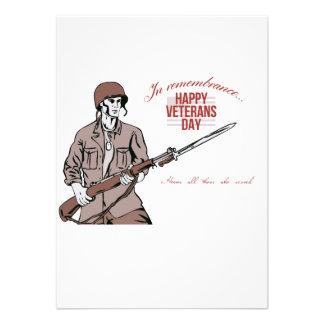 Veterans Day Greeting Card American Soldier Custom Invitation