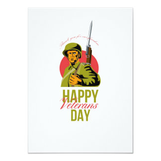 Veterans Day Greeting Card American WWII Soldier Personalised Invitation