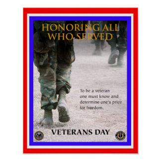 veterans day honor poster from 14.95