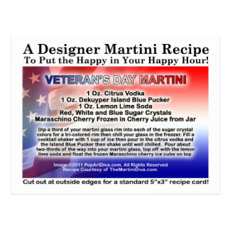 Veteran's Day Martini Recipe Postcard