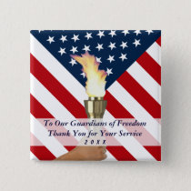 Veterans Day or Memorial Day Military Thank You Pinback Button
