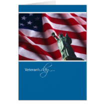 Veteran's Day, Statue of Liberty and Flag Card