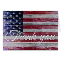 Veteran's Day Thank You, American Flag on Distress Card