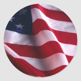 Veteran's Day Thank You, Patriotic American Flag Classic Round Sticker