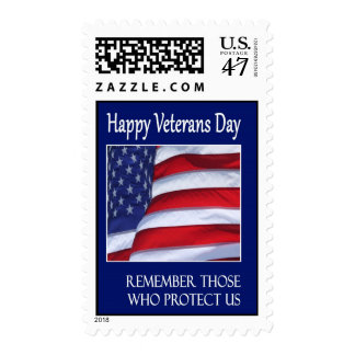 Veterans Day waving flag postage stamps