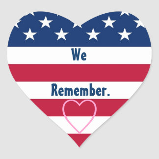 Veterans Day We Remember Stars and Stripes F503 Heart Sticker