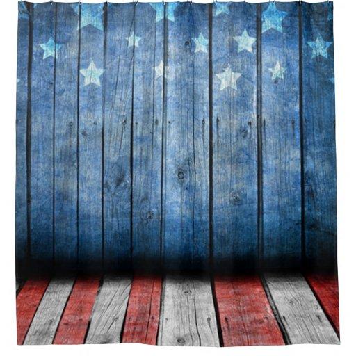 Veterans Day Whitered And BlueUS Flag Wood Shower
