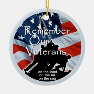 Veterans Double-Sided Ceramic Round Christmas Ornament