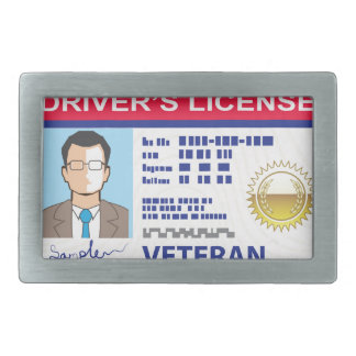 Veterans Driver's License Rectangular Belt Buckle