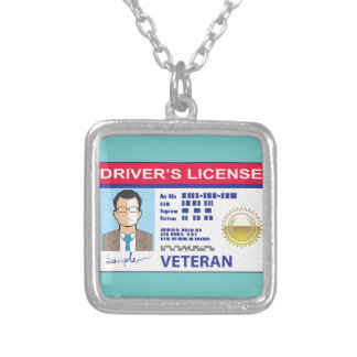 Veterans Driver's License Silver Plated Necklace