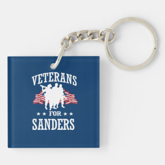 VETERANS FOR BERNIE SANDERS Double-Sided SQUARE ACRYLIC KEYCHAIN