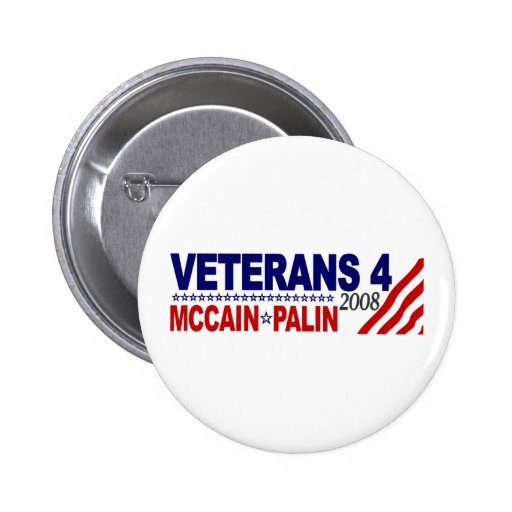 Veterans for McCain Palin 2008 2 Inch Round Button