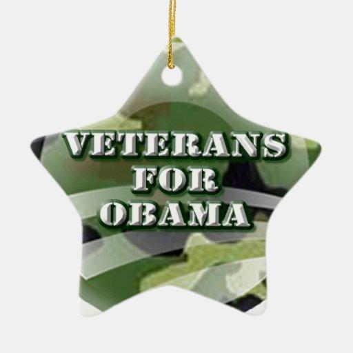 Veterans for Obama Double-Sided Star Ceramic Christmas Ornament