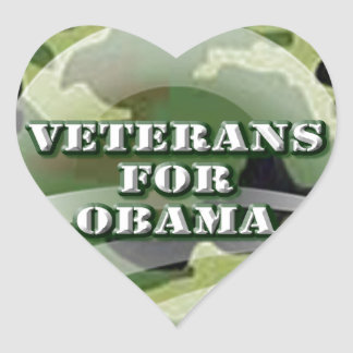 Veterans for Obama Heart Stickers