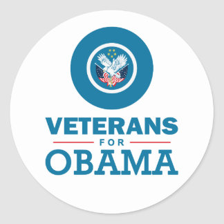 Veterans for Obama Classic Round Sticker