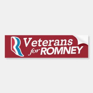 Veterans For Romney Bumper Sticker CUSTOM COLOR