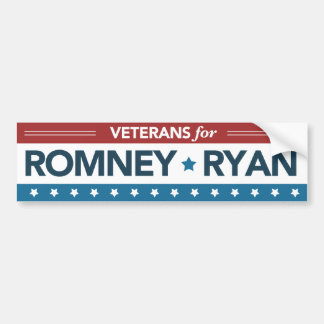 Veterans For Romney Ryan Bumper Sticker