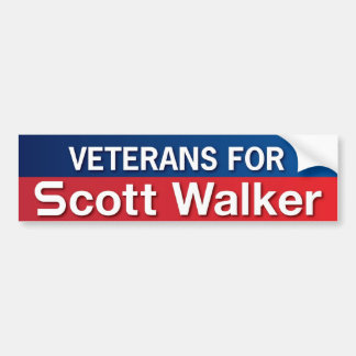 Veterans for Scott Walker Car Bumper Sticker