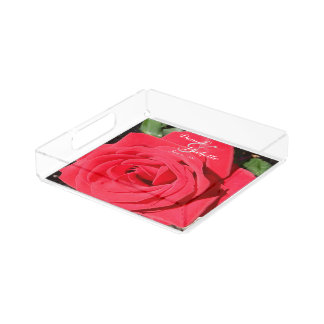 Veteran's Honor Red Rose Monogrammed Serving Tray