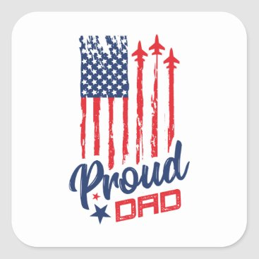 Veterans Proud Dad Veterans Day Square Sticker