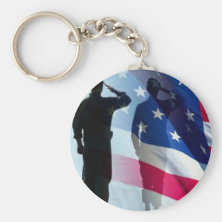 Veterans Salute the flag Key Ring Keychains