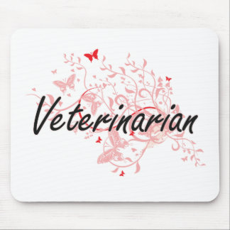 Veterinarian Artistic Job Design with Butterflies Mouse Pad