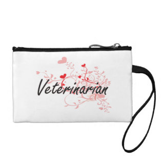 Veterinarian Artistic Job Design with Hearts Change Purse