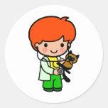 Veterinarian Boy Round Sticker