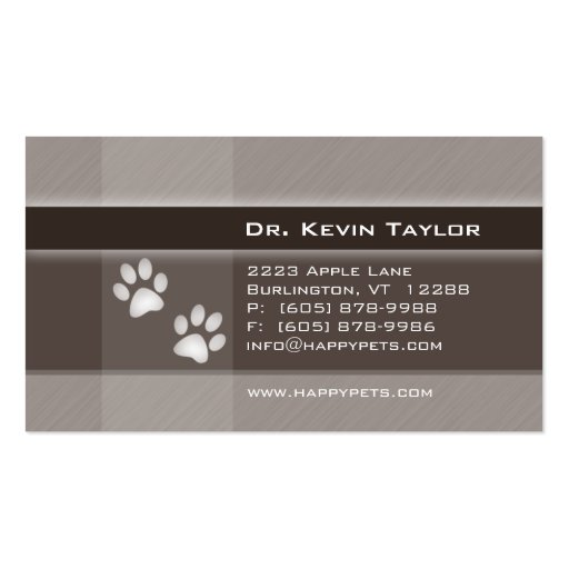 Veterinarian Business Card brown stripes paws