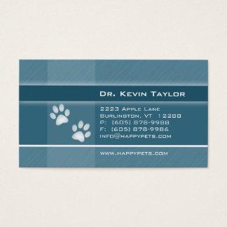 Veterinarian Business Card Denim Blue Paws