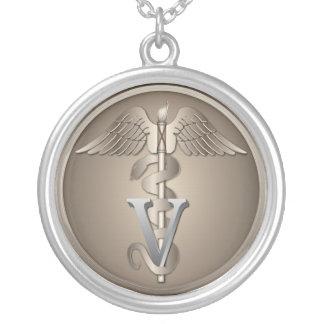 Veterinarian Caduceus Round Pendant Necklace
