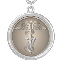 Veterinarian Caduceus Silver Plated Necklace