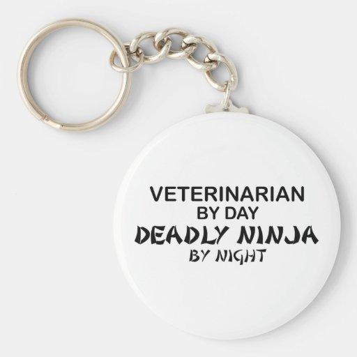 Veterinarian Deadly Ninja Basic Round Button Keychain