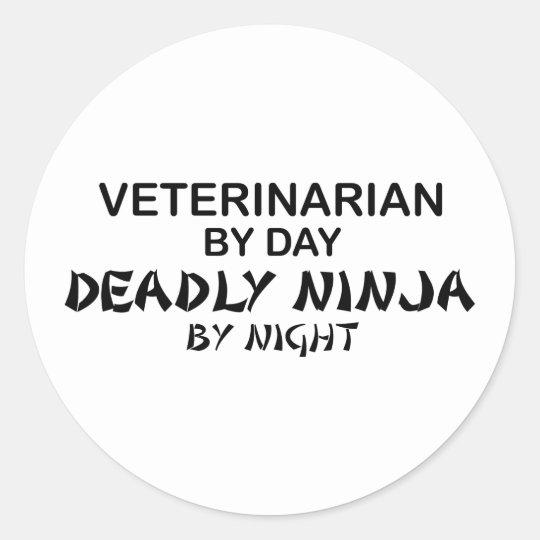 Veterinarian Deadly Ninja Classic Round Sticker