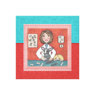 Veterinarian & Dog Gallery Wrapped Canvas Print