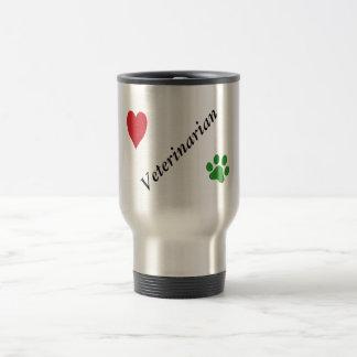 Veterinarian-Green Paw Print and Heart Travel Mug