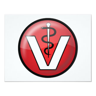 """Veterinarian Medical Symbol 4.25"""" X 5.5"""" Invitation Card"""
