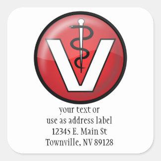 Veterinarian Medical Symbol Square Sticker