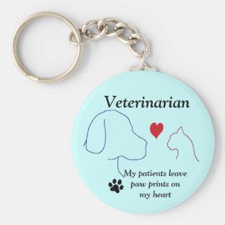 Veterinarian- Paw Prints on My Heart #2 Basic Round Button Keychain