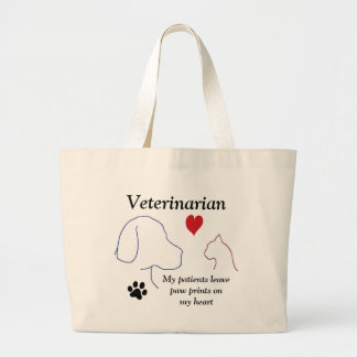 Veterinarian - Paw Prints on My Heart #2 Large Tote Bag